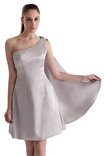 Entwurf Silber ein Neue Kurze Satin Schulter GEORGE BRIDE Kleid Abschlussball qZE5Az57wx