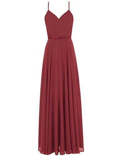 Gardenwed Simple Spaghetti Straps Flowy Long Bridesmaid Dress Formal Dress Burgundy Size 24W ()
