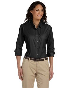 (Devon & Jones Ladies' Three-Quarter Sleeve Stretch Poplin Blouse XL Black)