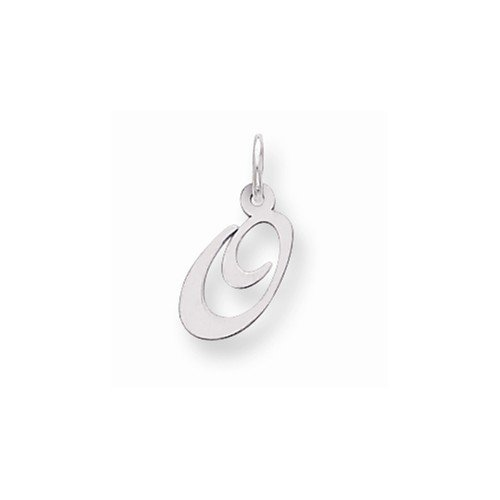 Solid 925 Sterling Silver Pendant Small Fancy Script Initial Letter O Charm (16mm x (Sterling Silver Fancy Box)