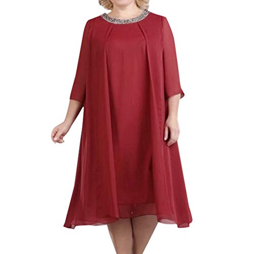 Sequin Cocktail Evening Party Short Midi Dress Women Plus Size Ladies Dress Red