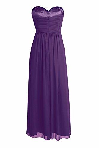 YiZYiF Elegant Damen Kleider lange Abendkleid festliche Hochzeit Party Herzausschnitt Cocktailkleid Chiffon Brautjungfernkleider Abschlussball Kleider Gr. 36-46 Lila ZB17SongF5
