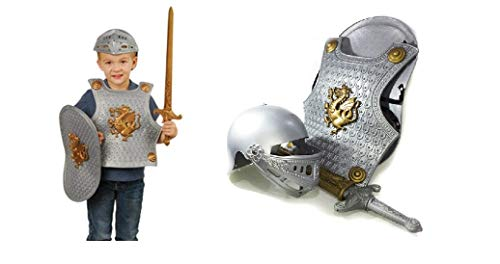 Plastic Knight Costume For Kids (4 Pcs Set - Includes Chest Plate, Shield, Sword & Helmet) | Knight Child Costume Set For Party -