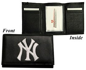 NEW YORK YANKEES Tri-Fold Genuine LEATHER WALLET with Embroidered Team Logo