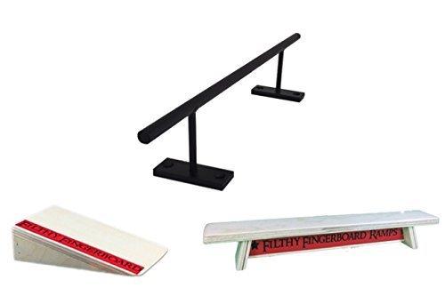 Straight Steel Black Fingerboard Rail Slide, Kicker Ramp and Wood Bench Combo