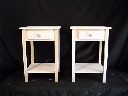 - Set of 2 unfinished Shaker Square edge Pine End Table, Night Stand w/shelf