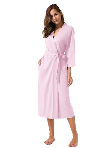 SIORO Women's Kimono Robes Cotton Lightweight Robe Long Knit Bathrobe Soft Nightgowns Sleepwear V-Neck Ladies Nightwear Pink M Cotton Extra Long Robe