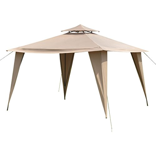 11'X11' Brown Solid Steel Frame Gazebo Patio Canopy Tent Outdoor Party Shelter (Barn Style Portable Garage Canopy)