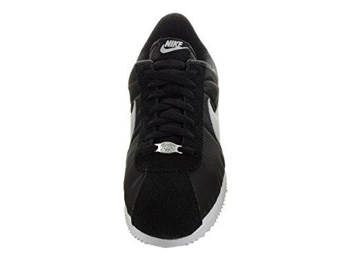 Nike Cortez Basic Nylon 06 Mens Scarpe Da Corsa Nero / Metallico Argento-bianco