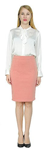 (Marycrafts Women's Work Office Business Pencil Skirt S Peach)