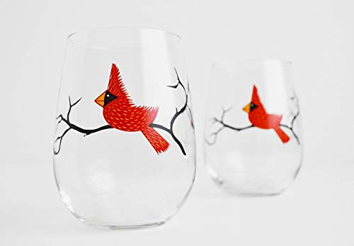 Cardinal Wine Glasses Set of Two Stemless Wine Glasses, Red Birds Christmas Glasses, Wedding Gift Review
