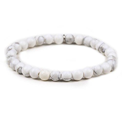 6MM Gemstone Beads Srtetch bracelet with Silver leaf Pendant-Women-White (Gemstone Bracelet Watch)