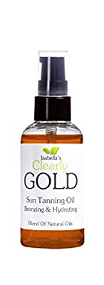Isabella's Clearly GOLD, Best Bronzing Natural Oil Lotion. Moisturize Skin. Accelerates Sun Tan Healthy Glow. Broad Spectrum Moderate SPF Sunscreen. Olive, Carrot, Coconut and Extract, 2 OZ