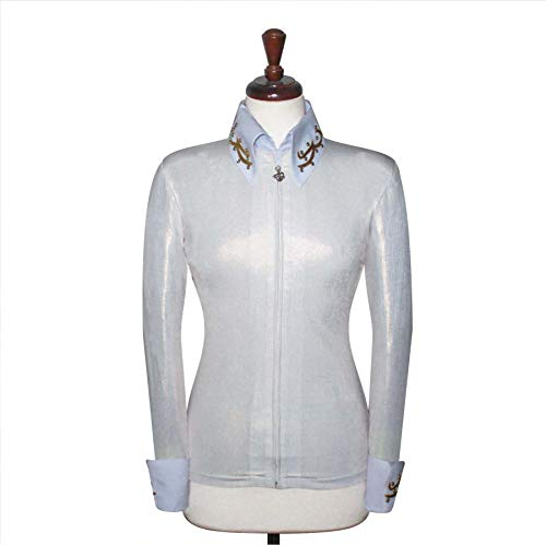Western Pleasure Show Shirts - X-Large Rodeo Western Horse Riding Show Jacket Horsemanship Pleasure Rail Outfit [69] White