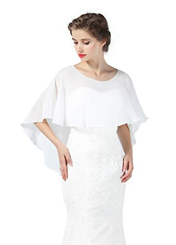 - Bridal Capelet Chiffon Cape Shawls High-Low Short Tops For Women Wedding Dresses Ivory