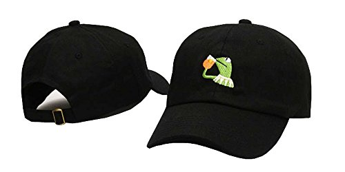 Kermit The Frog Dad Hat Cap Sipping Sips Drinking Tea Champion Lebron Costume Fashion Adjustable baseball cap (Black)