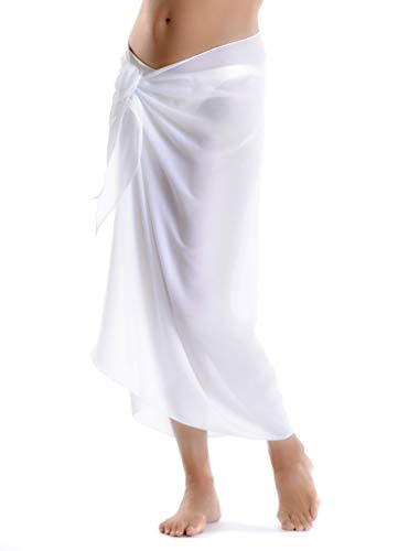 FATOS Beach Cover Womens Beach Sarong Pareo Swimwear Chiffon Cover up Swimsuit Wrap Solid Color Long (White)