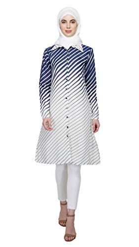 Tapered Striped Dress Abaya Hijab By Ruqsar