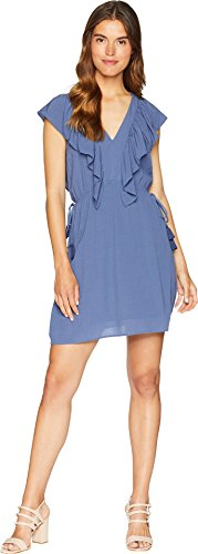 State Womens V-neck - 1.State Women's V-Neck Ruffle Edge Dress with Ties Moon Shade Medium