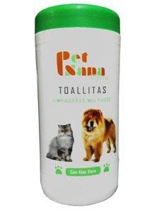 Pet Sana (60uds) - Toallitas higiénicas limpiadoras Multiusos con Aloe Vera para Perros y