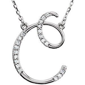 En argent sterling Lettre «C» 1/8ctw Diamant Initiale 40,6cm-Collier Femme