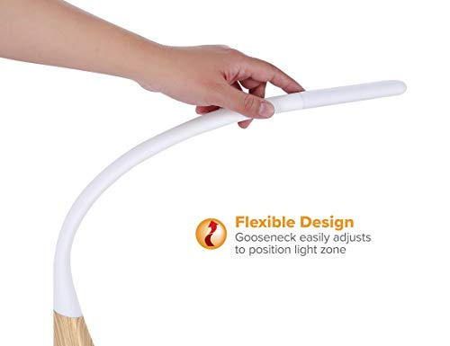 PureOptics LED Flexible Desk Lamp with Wood Grain Base, 3 Dimming Levels, USB Charging Port (VLED1701-W)