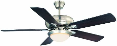 Savoy House 52-CDC-5RV-SN Downrod Mount, 5 White Blades Ceiling fan with 60 watts light, Satin Nickel