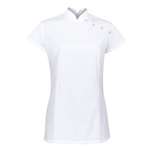 Alexandra Womens Stand Collar Beauty Tunic / Health Beauty & Spa / Workwear (6 US) (White)