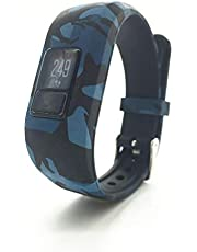 TERSELY Replacement Band Strap for Garmin Vivofit JR 3 Junior 2, Soft Silicone Metal Clasp Buckle Wrist Strap Watch Band Bracelet for VIVOFIT 3 JR Junior 2 1 Kids Fitness Tracker (Blue Camo)