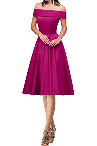 Modern Abendkleid Ivydressing A Damen Lang Satin Festkleid Kurz Fuchsie Linie U Partykleid Ausschnitt Promkleid Cg5Pxgp