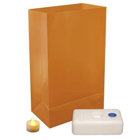 LumaBase Festive Lighting Decorative Battery Operated LED Luminaria Kit Tan12ct by Lumabase