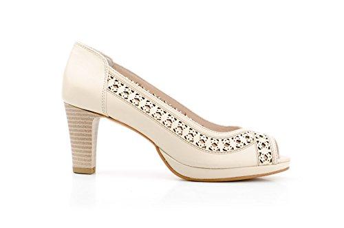 Conbuenpie by Jam - Zapato sandalia con plataforma piel mujer color Beige laser
