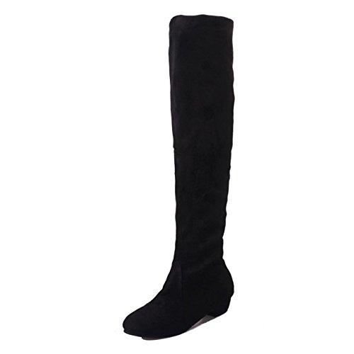 ESAILQ Boots Women Winter Flat Boots Shoes High Leg Faux Suede Long Boots Black