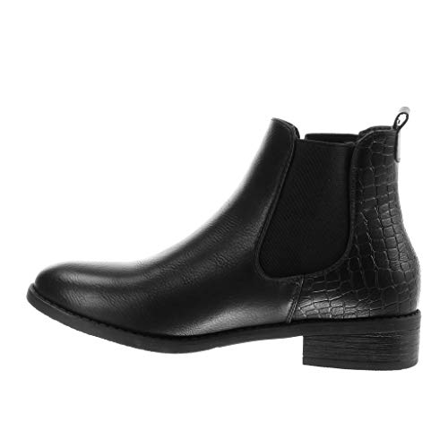 Black Boots Ankle Booty 5 Fashion Chelsea Boots cm Shoes Modern Snake Rock Print Angkorly Elastic Cavalier Women's Heel 3 Block nqWfxHHI