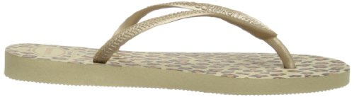 Havaianas Slim Animals Chanclas, mujer Dorado (Sand Grey 0154)