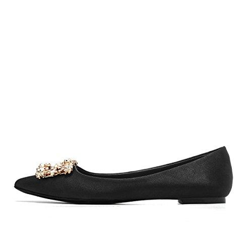 Womens Satin Smart Spitz Schuhe Abend Braut Pumps Damen Klassische High Heels Schuhe Black1CM