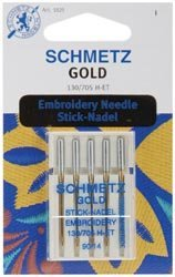 Schmetz Machine Embroidery Needle Gold Size 90/14 (Titanium Sewing Machine Needles)