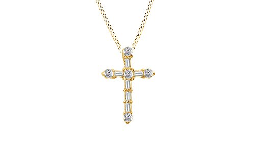 Baguette Yellow Cross (Round and Baguette Natural Diamond Cross Pendant in 10K Solid Yellow Gold (1/4)