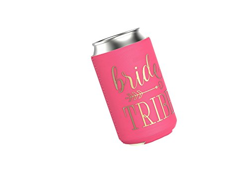 Bride Tribe Beer Can Coolers Set for Bachelorette Parties, Bridal Showers, or Weddings - Neon Pink 11 Pack (Beer Vegas Wedding Party)