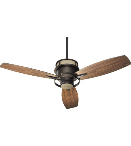 Quorum International 54543-86 Bristol 54-Inch Ceiling Fan, Oiled Bronze Finish with Amber Scavo Up Glass and Walnut Blades