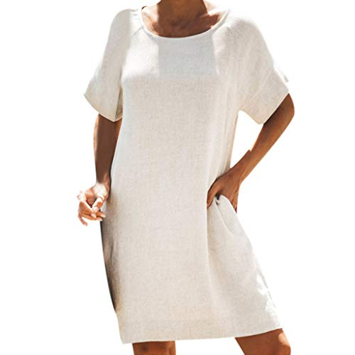 Tantisy ♣↭♣ Womens Casual Midi Dresses Short Sleeve Crew Neck Summer Tshirt Dress with Pockets/Cotton and Linen Beige ()