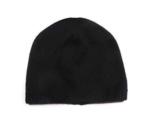 Black Basic Knit Beanie - Miuk Women's 100% Pure Cashmere Basic Knit Hat Black