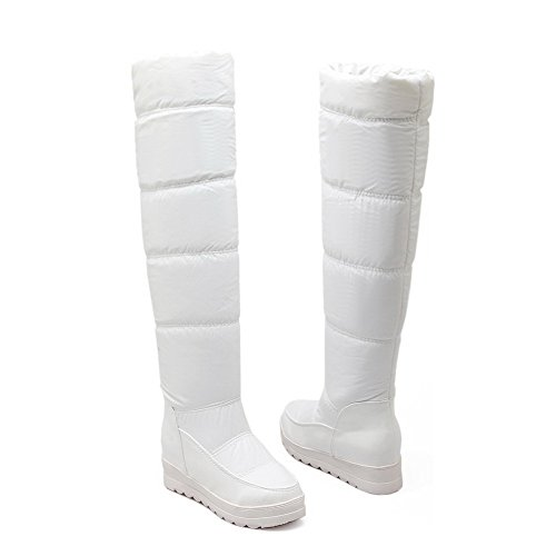 Allhqfashion Women's PU Blend Materials Kitten-Heels Boots with Wedge and Thread White HJoHsv