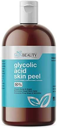 GLYCOLIC Acid 50% Skin Chemical Peel - Unbuffered - Alpha Hydroxy (AHA) For Acne, Oily Skin, Wrinkles, Blackheads, Large Pores,Dull Skin (4oz / 120ml)