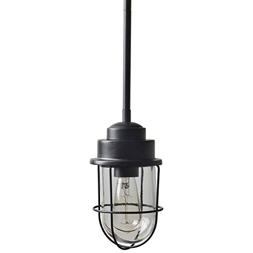 Stone & Beam Jordan Industrial Farmhouse Ceiling Single Pendant Cage Fixture With Light Bulb - 4.8 x 4.8 Inches, 10.75 x 58.75 Inch Cord, Black
