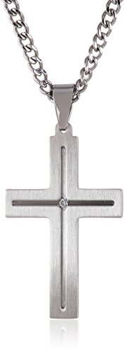 Collection Cross Necklace - Men's Stainless Steel Cross Necklace with Diamond Accent, 24