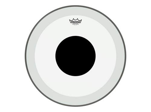 Remo P31320-10 Clear Powerstroke 3 Bass Drum Head - 20-Inch - Black Dot