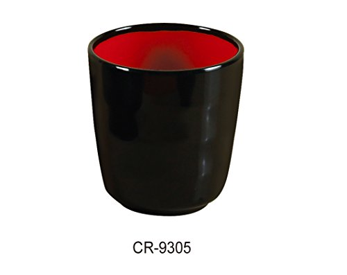 Yanco CR-9305 Black and Red Two-Tone Tea Cup, 7 oz Capacity, 3'' Diameter, 3.125'' Height, Melamine, Black/Red Color, Pack of 48 by Yanco