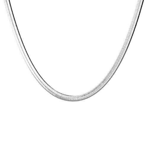 Dtja Round Snake Chain Choker Necklace for Women Girls Men Titanium Stainless Steel Italian Link Chain Herringbone Thin Flat Magic Shiny Vintage Charm Collar Jewelry Best Gifts (14.2