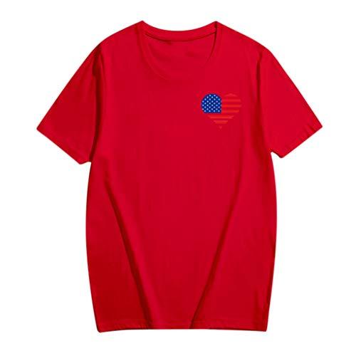 (Sunhusing Unisex Round Neck Short Sleeve Plus Size T-Shirt Love Heart Shape American Flag Print Tops Parent-Child Shirt (XXXL, Red))